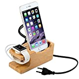Shopizone® Natural Bamboo Wooden Stand Charging Dock [Triple USB] Mobile Holder for iPhone