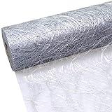 Sizoweb Tischband - 25 Meter Rolle + 100 Deko Herzen Gratis (30cm Breite, in Silber)
