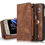INFLATION iPhone/Samsung Leder Handytasche Case Hülle Geldbörse mit Kartenfach abnehmbar Magnet Handy Schutzhülle für Samsung Galaxy S7 Edge in Braun