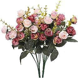 Luyue, Künstliche Seiden-Blumen-Sträuße mit 7Stielen und 21 Rosen, 2Stück Pink coffee
