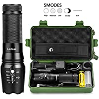 Ledeak 1000 Lumen Led Torch,Pocket-Sized Tactiacl Led Flashlight,Zoomable 5 Modes and Water Resistant Torch Light with USB Charger,18650 Rechargeable Battery,Handlebar Mount, Flashlight Holster