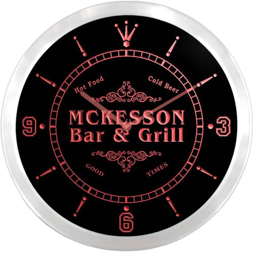 ncu29654-r-mckesson-family-name-bar-grill-cold-beer-neon-sign-led-wall-clock