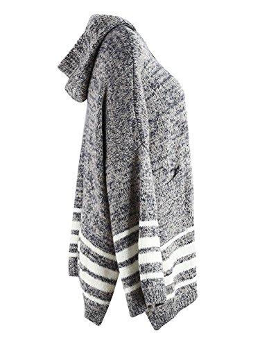 Simplee Apparel Damen Lang Cardigan Casual Langarm Streifen Strickjacke Strickmantel mit Kapuze Grau Grau