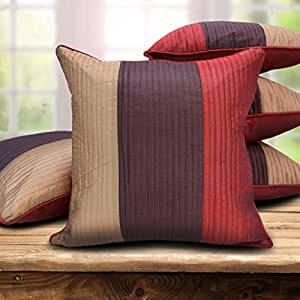 "Czar Home Striped Cushion Cover 16"" x 16"" Set of 5"