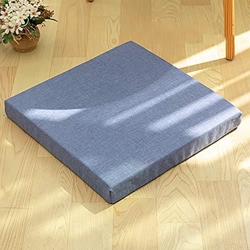 MSM Quadratische Tatami Seat Dämpfung, Japaner Balkontür Bay-Fenster Rattan Stuhlkissen Yoga-Matte Verdicken Sie Futon Kissen Stuhl-pad-Denim Blue 40x40x5cm -