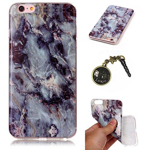 TPU Cuir Coque marbre Case Etui Coque étui de portefeuille protection Coque Case TPU Swag Pour Apple iPhone 6 Plus (5.5 pouces)+Bouchons de poussière (1NH)