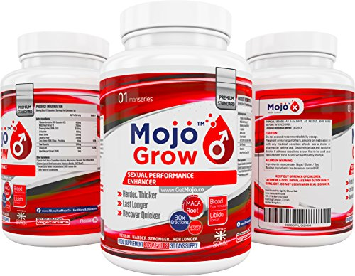 MOJO™ GROW – 30x Sexual Performance Enhancement Supplement | Erection Male Virility Pills | Herbal Blue V Natural Sex Stimulant Pill Erectile Dysfunction Aid + MONEY BACK GUARANTEE