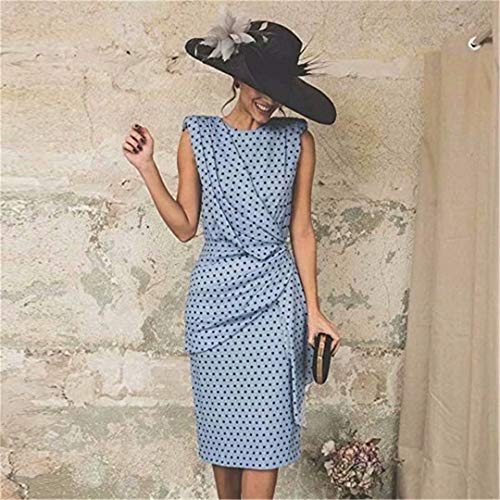 REGOU Polka Dot Kleid Damen Vintage Retro Kurzarm mittellang Office Bodycon-Kleid m