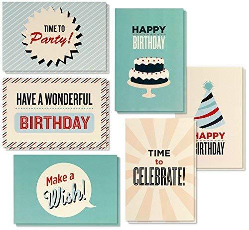 Best Papier Grüße 48Stück Happy Birthday Note Karten Grußkarten, 6Vintage Retro Geburtstagstorte Party Hat Designs, Bulk Box Set Vielzahl Sortiment, Umschläge enthalten 10,2x 15,2cm