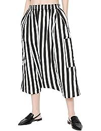 ELLAZHU Women Fashion Casual High Elastic Waist Drop Crotch Harem Pants GY1598