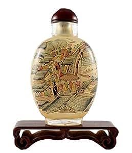 Chine Riverside Scène Tabac à priser Bouteille Art Fait Main Cadeau idéal Jaune 8,9cm