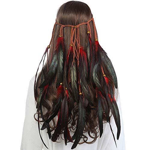 AWAYTR Feder Kopfschmuck Boho Hippie Stirnband - Fancy Federschmuck Böhmische Kopfbedeckung Quaste für Damen Mädchen Karneval Kopfschmuck, Rot + Schwarz, Einheitsgröße