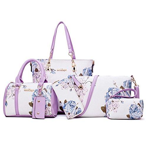 Hobo Vintage Handtasche Damen Travel PU Messenger Schultertasche Shopper Leder Clutch Taschen Schlüsseltasche für Frauen 6er Set Lila