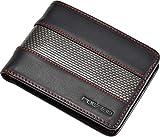 Portafoglio Uomo Nero | Vera Pelle e Carbonio | RFID Blocco | POCARDO Stripe (senza Porta Monete/Cucitura Rossa)