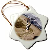 3dRose orn_55279_1 Cape Hatteras Lighthouse Snowflake Porcelain Ornament, 3-Inch