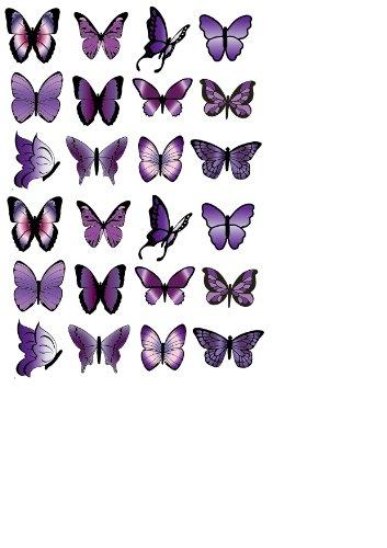 B1 Cupcake-Dekoration, Schmetterlinge, Reispapier, essbar, für Geburtstage, Partys, Hochzeiten, klein, Violett violett