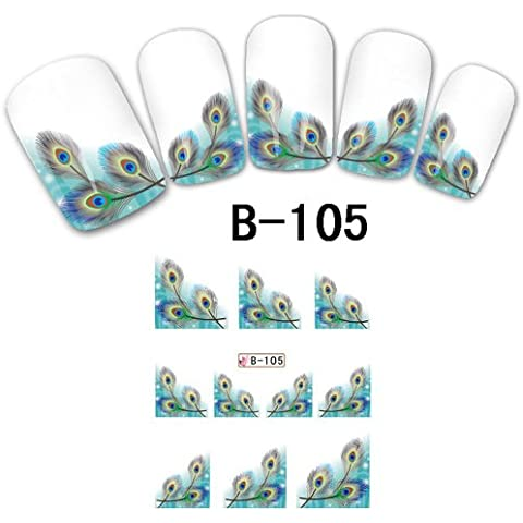 Davidsonne Tatuajes de uñas completo WRAPS Flor francés Transferencia de agua Pegatinas DIY Decoración