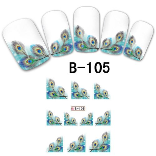 Davidsonne Français Nail Art Tips en Oblique Lot de transfert de l'eau sticker acrylique DIY B105
