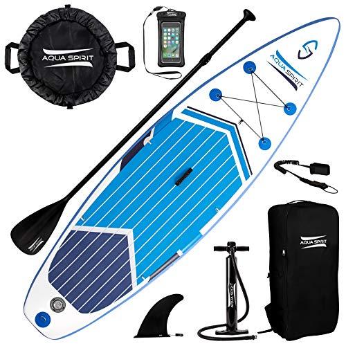 Aqua Spirit 3m Planche de Paddle Gonflable pour Débutant avec Pompe Haute Pression, Pagaie Réglable, Sac de Transport, Ceinture de Sécurité, Bleu