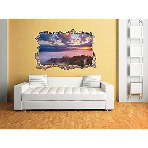 Pared Pegatinas Amanecer Japón en efecto 3d para un fantástico efecto pared decorativa pared adhesivo bs619(90x 60cm)