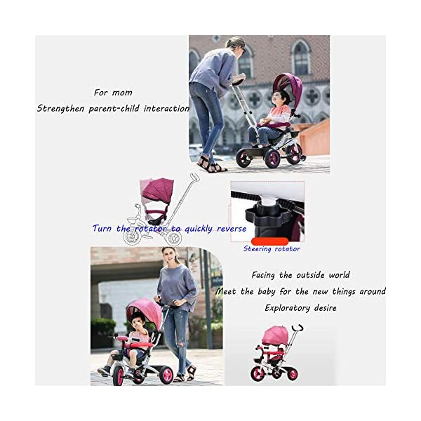 BGHKFF 4 In 1 Childrens Folding Tricycle 6 Months To 5 Years Rear Wheel With Brake Folding Trike 360° Swivelling Saddle Folding Sun Canopy Childrens Tricycles Maximum Weight 25 Kg,Purple BGHKFF ★Material: Steel frame, suitable for children from 6 months to 5 years old, the maximum weight is 25 kg ★ 4 in 1 multi-function: can be converted into baby strollers and tricycles. Remove the hand putter and awning, and the guardrail as a tricycle. ★Safety design: golden triangle structure, safe and stable; front wheel clutch, will not hit the baby's foot; guardrail; rear wheel double brake 4