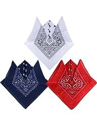 (100% Baumwolle) 3 Stk. / 6 Stk. Paisley Bandana Halstuch 55 x 55 cm Kopftuch Armtuch Mischfarben Haar Hals Kopf Schal Nickituch Vierecktuch für Damen und Jungen
