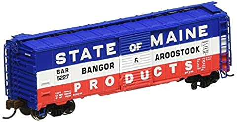 Bachmann Industries Inc. AAR 40' Steel Box Car Bangor and Aroostook - N Scale, Red, White and Blue