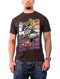 Marvel Comics Herren T Shirt Schwarz Avengers Age of Ultron Bars Offiziell