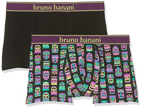 bruno banani Herren Short 2er Pack Hawaiian Mask Boxershorts, (Violett Print//Schwarz 2631), Large (2erPack)