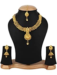 Jewels Gold Alloy Traditional Elegant Golden Necklace With Earrings Set & Maangtika For Women & Girls