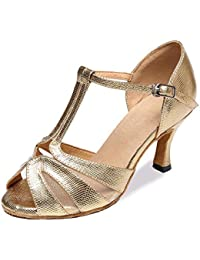 XUE Frauen Latin Schuhe Satin Sandale/Sneaker/Ferse Practice Schnalle/Band Tie/Hollow-Out Flared Ferse Dance Schuhe...