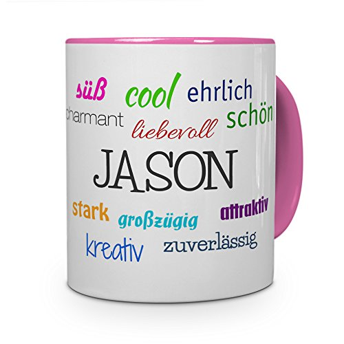 printplanet Tasse mit Namen Jason - Positive Eigenschaften von Jason - Namenstasse, Kaffeebecher, Mug, Becher, Kaffeetasse - Farbe Rosa (Kaffeebecher Jason)