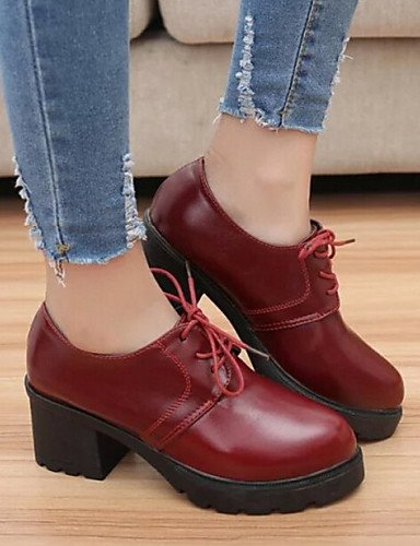 ZQ Scarpe Donna - Stringate - Casual - Comoda / Punta arrotondata / Chiusa - Quadrato - Finta pelle - Nero / Rosso , red-us8 / eu39 / uk6 / cn39 , red-us8 / eu39 / uk6 / cn39 black-us8 / eu39 / uk6 / cn39