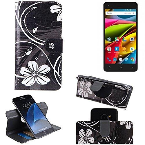 K-S-Trade® Schutzhülle Für Archos 50b Cobalt Lite Hülle 360° Wallet Case Schutz Hülle ''Flowers'' Smartphone Flip Cover Flipstyle Tasche Handyhülle Schwarz-weiß 1x