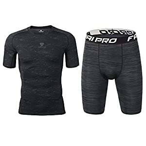Barrageon Herren Kompressionsshirt und Kompressionsshorts Schnell Trocknend Kompression Funktionswäsche Set Elastisch Sport Unterhemd Fitness Lauf Gym Training Jogging T-Shirt + Shorts