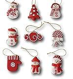 Best-Accessoires4All 9 tlg. Set Weihnachtsbaumschmuck Christbaumschmuck Figuren Aufhänger Baumschmuck Anhänger aus Polymer Ton Pfefferkuchen oder rot-weiß Design (Design rot-weiß)