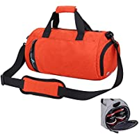 Asiki tondo in nylon impermeabile borsa da palestra borsone sportivo con scomparto per scarpe da viaggio borsa sportiva, Orange - Nylon Impermeabile Borsone