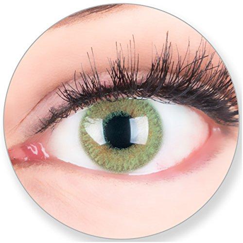 Glamlens SILICONE COMFORT SOFT Grüne Kontaktlinsen OHNE Stärke - für Braune Dunkelbraune und Schwarze Dunkle Augen - mit Kontaktlinsenbehälter. 2 Farbige Smaragdgrün 3 Monatslinsen