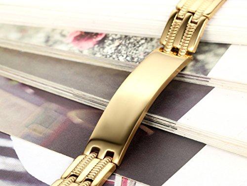 Flongo Acier Inoxydable Bracelet Fashion Homme Rayure Os Serpent Charmant Manchette Fantaisie Argent Or Chaine de Main Or