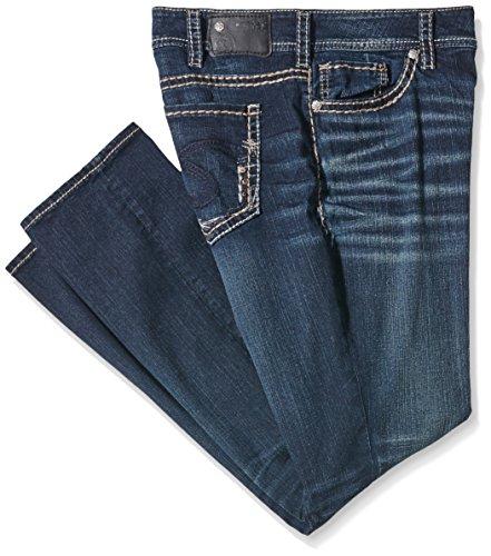 Silver Jeans Damen Suki Mid Straight Jeanshose, Blau (Indigo SAI383), W44/L32 (Herstellergröße: 24) (Silver Jeans Damen Suki)