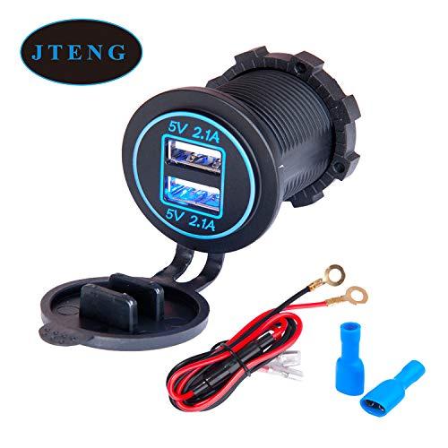 JTENG Presa per Auto Doppio USB, 12V / 24V 36W 5V 2.4A 2 Porte Caricabatteria Presa USB, Impermeabile con Indicatore LED Blu per Auto e Moto, Suv, Barca, Ecc.