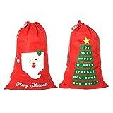 Jumbo in Feltro Rosso Sacco di Natale Coppia Albero di Natale-Babbo Natale/Parole