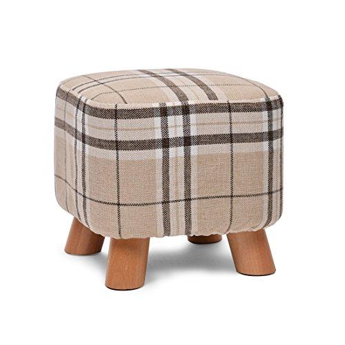 HJR-Chaises Tabouret simple en bois massif + tissu Tabouret carré créatif, modèle en bois de banc Optionnel (Couleur : A)