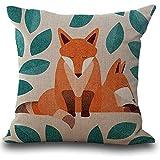 monrose Fox Print Sofa Bett Dekoration Kissenbezug Kissenbezug-Dekorativer Kissenbezug - Quadrat Wurf Kissenbezüge Set-