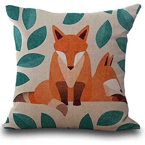 Ode_Joy Fox Print Divano letto Decorazioni per la casa Fodera cuscino-Cuscino sveglio del cuscino festival della decorazione domestica divano PillowCase-Copricuscini decorativi da letto