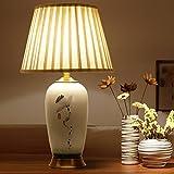 Lampe de table en céramique Campagne grand salon Rétro pastoral peint à la main, chambre à fleurs et oiseaux Lampe de chevet , 1...