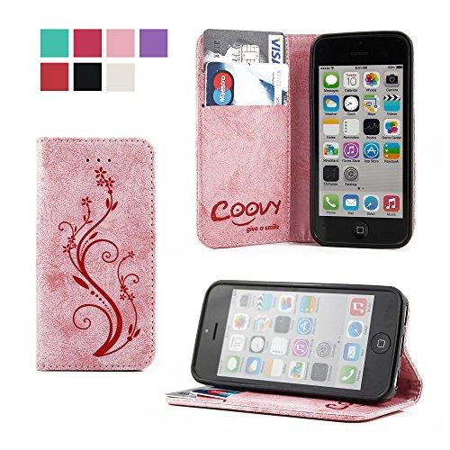 COOVY® Cover für Apple iPhone 5c Case Wallet Schutz Etui mit Kartenfach, Standfunktion + Schutzfolie - Design Blume | Farbe lightpink (Case 5c Wallet)