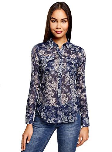 oodji Collection Mujer Camisa de Algodón con Estampado, Azul, ES 42 / L
