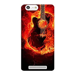 INKIF Burning Guitar Designer Case Printed Mobile Back Cover for Gionee Marathon M5