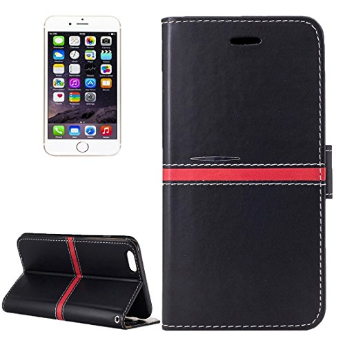 BING Für iPhone 6 / 6s, Crazy Pferd Textur PU Leder Horizontale Flip Leder Tasche mit Halter & Card Slots & Wallet & Photo Frame & Lanyard BING ( Color : Red ) Black